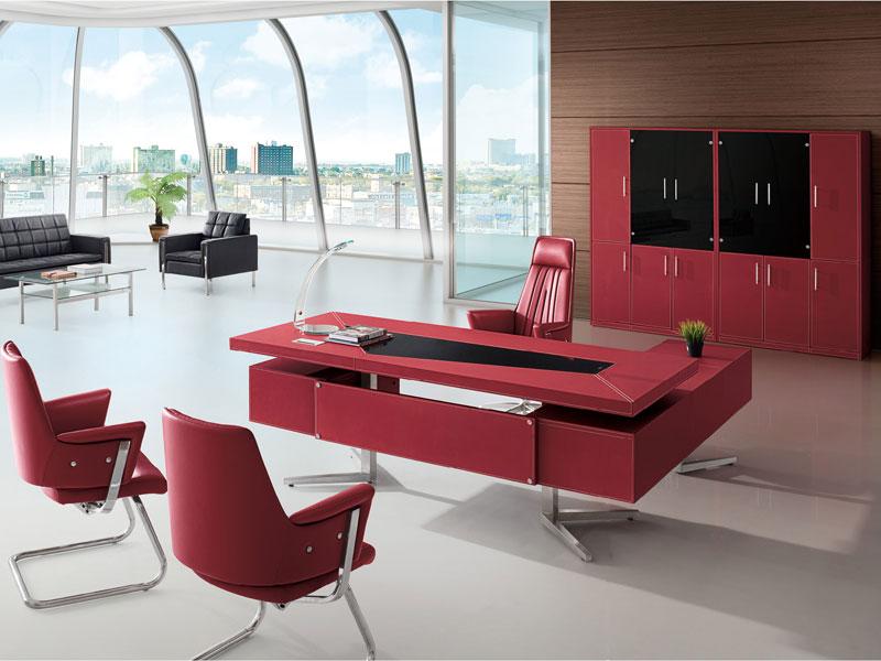 办公桌尺寸-皮质大班台-皮质办公家具-老板桌设计