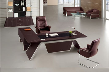 皮质办公桌-老板桌-定制办公桌厂家