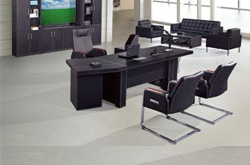 老板桌设计-定制皮质办公桌厂家-皮质班台