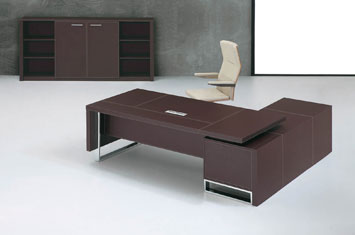 皮质老板桌-皮质班台-定制皮质桌