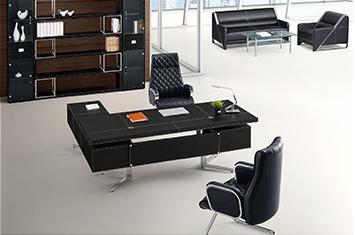 班台图片-皮质班台-皮质办公老板桌-高档烤漆木皮班台